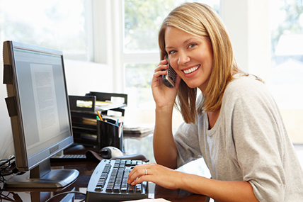 Wesley Chapel Businesswoman Calling Through Her Home Office's New Phone System